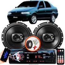 """Alto Falante Pioneer Fiat Siena Dianteiro Ts-1790br 6"""" 120W RMS  4 Ohms Triaxial Bobina Simples Preto Par + Rádio Com Bluetooth - Kit Delparts"""