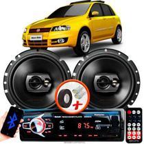 """Alto Falante Pioneer Fiat Stilo Traseiro Ts-1790br 6"""" 120W RMS 4 Ohms Triaxial Bobina Simples Preto Par + Rádio Com Bluetooth - Kit Delparts"""