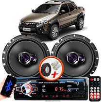 """Alto Falante Pioneer Fiat Strada Adventure Dianteiro Ts-1760br 6"""" 100W RMS  4 Ohms Triaxial Bobina Simples Par + Rádio Com Bluetooth - Kit Delparts"""
