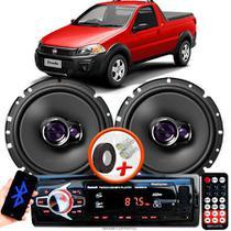 """Alto Falante Pioneer Fiat Strada Cabine Simples Dianteiro Ts-1760br 6"""" 100W RMS  4 Ohms Triaxial Bobina Simples Par + Rádio Com Bluetooth - Kit Delparts"""