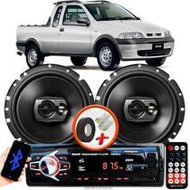 """Alto Falante Pioneer Fiat Strada Dianteiro Ts-1790br 6"""" 120W RMS  4 Ohms Triaxial Bobina Simples Preto Par + Rádio Com Bluetooth - Kit Delparts"""