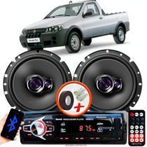 """Alto Falante Pioneer Fiat Strada Fire Dianteiro Ts-1760br 6"""" 100W RMS  4 Ohms Triaxial Bobina Simples Par + Rádio Com Bluetooth - Kit Delparts"""