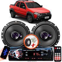 """Alto Falante Pioneer Fiat Strada Locker Adventure Dianteiro Ts-1760br 6"""" 100W RMS  4 Ohms Triaxial Bobina Simples Par + Rádio Com Bluetooth - Kit Delparts"""