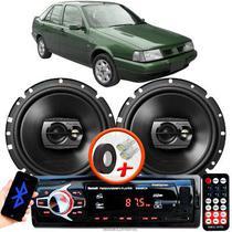 """Alto Falante Pioneer Fiat Tempra Dianteiro Ts-1790br 6"""" 120W RMS  4 Ohms Triaxial Bobina Simples Preto Par + Rádio Com Bluetooth - Kit Delparts"""