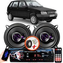 """Alto Falante Pioneer Fiat Uno Mile Economy Dianteiro Ts-1360br 5"""" 100W RMS  4 Ohms Triaxial Bobina Simples Preto Roxo Par + Rádio Com Bluetooth - Kit Delparts"""