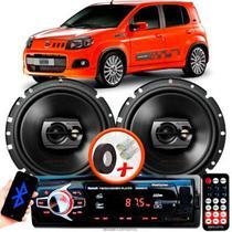 """Alto Falante Pioneer Fiat Uno Sporting Traseiro Ts-1790br 6"""" 120W RMS 4 Ohms Triaxial Bobina Simples Preto Par + Rádio Com Bluetooth - Kit Delparts"""