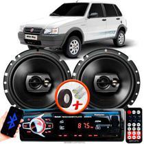 """Alto Falante Pioneer Fiat Uno Traseiro Ts-1790br 6"""" 120W RMS 4 Ohms Triaxial Bobina Simples Preto Par + Rádio Com Bluetooth - Kit Delparts"""