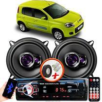 """Alto Falante Pioneer Fiat Uno Vivace Dianteiro Ts-1360br 5"""" 100W RMS  4 Ohms Triaxial Bobina Simples Preto Roxo Par + Rádio Com Bluetooth - Kit Delparts"""