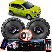 "Alto Falante Pioneer Fiat Uno Vivace Traseiro Ts-1760br 6"" 100W RMS 4 Ohms Triaxial Bobina Simples Par + Rádio Com Bluetooth - Kit Delparts"