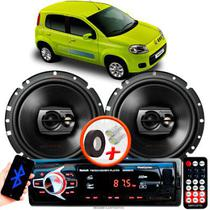 "Alto Falante Pioneer Fiat Uno Vivace Traseiro Ts-1790br 6"" 120W RMS 4 Ohms Triaxial Bobina Simples Preto Par + Rádio Com Bluetooth - Kit Delparts"
