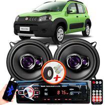 """Alto Falante Pioneer Fiat Uno Way Dianteiro Ts-1360br 5"""" 100W RMS  4 Ohms Triaxial Bobina Simples Preto Roxo Par + Rádio Com Bluetooth - Kit Delparts"""