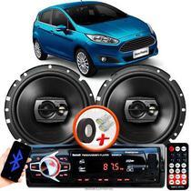 """Alto Falante Pioneer Ford New Fiesta Hatch Dianteiro Ts-1790br 6"""" 120W RMS  4 Ohms Triaxial Bobina Simples Preto Par + Rádio Com Bluetooth - Kit Delparts"""