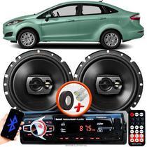 """Alto Falante Pioneer Ford New Fiesta Sedan Dianteiro Ts-1790br 6"""" 120W RMS  4 Ohms Triaxial Bobina Simples Preto Par + Rádio Com Bluetooth - Kit Delparts"""