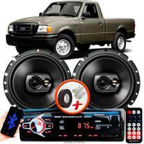 """Alto Falante Pioneer Ford Ranger Traseiro Ts-1790br 6"""" 120W RMS 4 Ohms Triaxial Bobina Simples Preto Par + Rádio Com Bluetooth - Kit Delparts"""