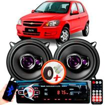 """Alto Falante Pioneer GM Celta Traseiro Ts-1360br 5"""" 100W RMS 4 Ohms Triaxial Bobina Simples Preto Roxo Par + Rádio Com Bluetooth - Kit Delparts"""