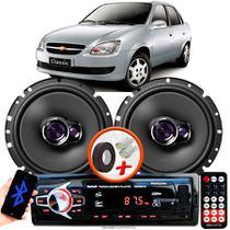 """Alto Falante Pioneer GM Corsa Classic Dianteiro Ts-1760br 6"""" 100W RMS  4 Ohms Triaxial Bobina Simples Par + Rádio Com Bluetooth - Kit Delparts"""