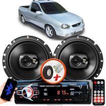 """Alto Falante Pioneer GM Corsa PickUp Dianteiro Ts-1790br 6"""" 120W RMS  4 Ohms Triaxial Bobina Simples Preto Par + Rádio Com Bluetooth - Kit Delparts"""