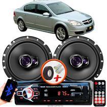 """Alto Falante Pioneer GM Corsa Sedan Dianteiro Ts-1760br 6"""" 100W RMS  4 Ohms Triaxial Bobina Simples Par + Rádio Com Bluetooth - Kit Delparts"""