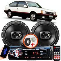 """Alto Falante Pioneer GM Monza Dianteiro Ts-1790br 6"""" 120W RMS  4 Ohms Triaxial Bobina Simples Preto Par + Rádio Com Bluetooth - Kit Delparts"""