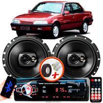 """Alto Falante Pioneer GM Monza Traseiro Ts-1790br 6"""" 120W RMS 4 Ohms Triaxial Bobina Simples Preto Par + Rádio Com Bluetooth - Kit Delparts"""