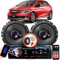 """Alto Falante Pioneer GM Onix Dianteiro Ts-1760br 6"""" 100W RMS  4 Ohms Triaxial Bobina Simples Par + Rádio Com Bluetooth - Kit Delparts"""