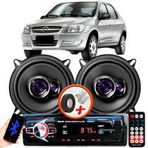 """Alto Falante Pioneer GM Prisma Dianteiro Ts-1360br 5"""" 100W RMS  4 Ohms Triaxial Bobina Simples Preto Roxo Par + Rádio Com Bluetooth - Kit Delparts"""