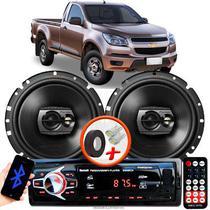 """Alto Falante Pioneer GM S10 Simples Dianteiro Ts-1790br 6"""" 120W RMS  4 Ohms Triaxial Bobina Simples Preto Par + Rádio Com Bluetooth - Kit Delparts"""