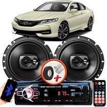 """Alto Falante Pioneer Honda Accord Dianteiro Ts-1790br 6"""" 120W RMS  4 Ohms Triaxial Bobina Simples Preto Par + Rádio Com Bluetooth - Kit Delparts"""