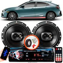 """Alto Falante Pioneer Honda Civic Traseiro Ts-1790br 6"""" 120W RMS 4 Ohms Triaxial Bobina Simples Preto Par + Rádio Com Bluetooth - Kit Delparts"""