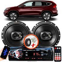 """Alto Falante Pioneer Honda Crv Dianteiro Ts-1790br 6"""" 120W RMS  4 Ohms Triaxial Bobina Simples Preto Par + Rádio Com Bluetooth - Kit Delparts"""