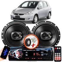 """Alto Falante Pioneer Honda Fit Dianteiro Ts-1790br 6"""" 120W RMS  4 Ohms Triaxial Bobina Simples Preto Par + Rádio Com Bluetooth - Kit Delparts"""