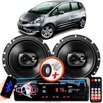 """Alto Falante Pioneer Honda Fit Traseiro Ts-1790br 6"""" 120W RMS 4 Ohms Triaxial Bobina Simples Preto Par + Rádio Com Bluetooth - Kit Delparts"""