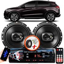 """Alto Falante Pioneer Honda HRV Dianteiro Ts-1790br 6"""" 120W RMS  4 Ohms Triaxial Bobina Simples Preto Par + Rádio Com Bluetooth - Kit Delparts"""