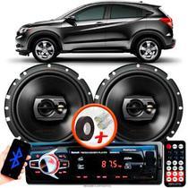 """Alto Falante Pioneer Honda WRV Traseiro Ts-1790br 6"""" 120W RMS 4 Ohms Triaxial Bobina Simples Preto Par + Rádio Com Bluetooth - Kit Delparts"""