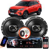 """Alto Falante Pioneer Hyundai Creta Sport Dianteiro Ts-1790br 6"""" 120W RMS  4 Ohms Triaxial Bobina Simples Preto Par + Rádio Com Bluetooth - Kit Delparts"""