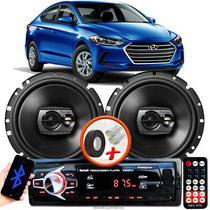 """Alto Falante Pioneer Hyundai Elantra Dianteiro Ts-1790br 6"""" 120W RMS  4 Ohms Triaxial Bobina Simples Preto Par + Rádio Com Bluetooth - Kit Delparts"""
