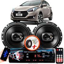 """Alto Falante Pioneer Hyundai Hb20 Hatch Traseiro Ts-1790br 6"""" 120W RMS 4 Ohms Triaxial Bobina Simples Preto Par + Rádio Com Bluetooth - Kit Delparts"""