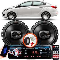 "Alto Falante Pioneer Hyundai Hb20 Sedan Traseiro Ts-1790br 6"" 120W RMS 4 Ohms Triaxial Bobina Simples Preto Par + Rádio Com Bluetooth - Kit Delparts"