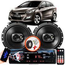 """Alto Falante Pioneer Hyundai I30 Dianteiro Ts-1790br 6"""" 120W RMS  4 Ohms Triaxial Bobina Simples Preto Par + Rádio Com Bluetooth - Kit Delparts"""