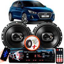 """Alto Falante Pioneer Hyundai I30 Traseiro Ts-1790br 6"""" 120W RMS 4 Ohms Triaxial Bobina Simples Preto Par + Rádio Com Bluetooth - Kit Delparts"""