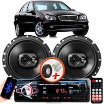 """Alto Falante Pioneer Mercedes C240 Traseiro Ts-1790br 6"""" 120W RMS 4 Ohms Triaxial Bobina Simples Preto Par + Rádio Com Bluetooth - Kit Delparts"""