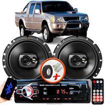 """Alto Falante Pioneer Mitsubishi L200 Dianteiro Ts-1790br 6"""" 120W RMS  4 Ohms Triaxial Bobina Simples Preto Par + Rádio Com Bluetooth - Kit Delparts"""