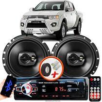"Alto Falante Pioneer Mitsubishi L200 Triton Dianteiro Ts-1790br 6"" 120W RMS  4 Ohms Triaxial Bobina Simples Preto Par + Rádio Com Bluetooth - Kit Delparts"