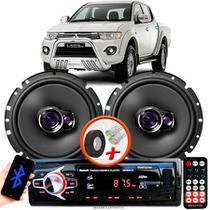 "Alto Falante Pioneer Mitsubishi L200 Triton Traseiro Ts-1760br 6"" 100W RMS 4 Ohms Triaxial Bobina Simples Par + Rádio Com Bluetooth - Kit Delparts"