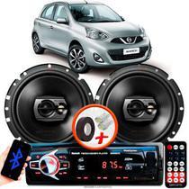 "Alto Falante Pioneer Nissan March Traseiro Ts-1790br 6"" 120W RMS 4 Ohms Triaxial Bobina Simples Preto Par + Rádio Com Bluetooth - Kit Delparts"
