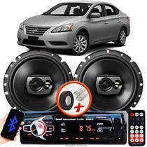"""Alto Falante Pioneer Nissan Sentra Dianteiro Ts-1790br 6"""" 120W RMS  4 Ohms Triaxial Bobina Simples Preto Par + Rádio Com Bluetooth - Kit Delparts"""