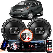 """Alto Falante Pioneer Nissan Versa Dianteiro Ts-1790br 6"""" 120W RMS  4 Ohms Triaxial Bobina Simples Preto Par + Rádio Com Bluetooth - Kit Delparts"""