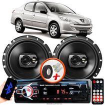 """Alto Falante Pioneer Peugeot 207 Sedan Dianteiro Ts-1790br 6"""" 120W RMS  4 Ohms Triaxial Bobina Simples Preto Par + Rádio Com Bluetooth - Kit Delparts"""