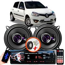 """Alto Falante Pioneer Renault Clio Hatch Dianteiro Ts-1360br 5"""" 100W RMS  4 Ohms Triaxial Bobina Simples Preto Roxo Par + Rádio Com Bluetooth - Kit Delparts"""