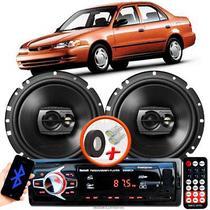 """Alto Falante Pioneer Toyota Corolla Dianteiro Ts-1790br 6"""" 120W RMS  4 Ohms Triaxial Bobina Simples Preto Par + Rádio Com Bluetooth - Kit Delparts"""